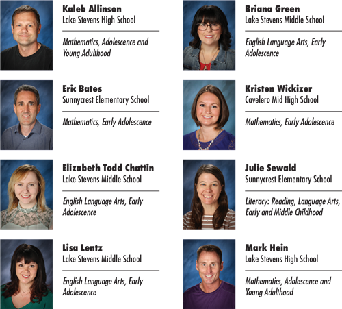 Photo of the eight teachers who are nationally certified