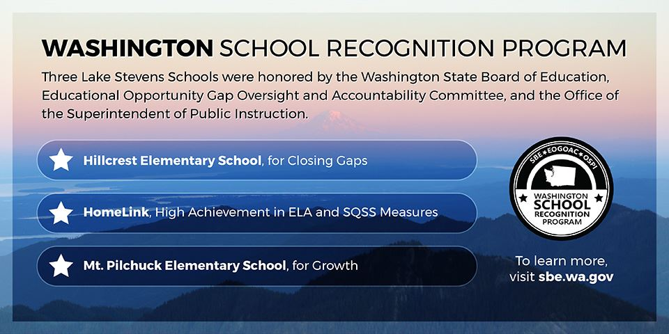 These elementary schools have been honored: Hillcrest, HomeLink and Mt. Pilchuck