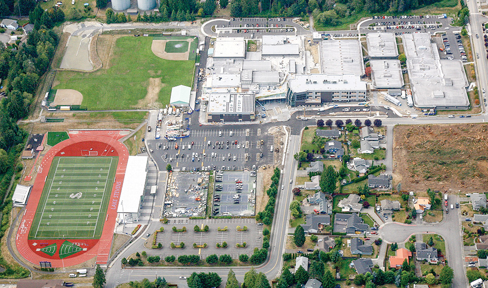 Aerial view of LSHS, the football field and surrounding neighborhood
