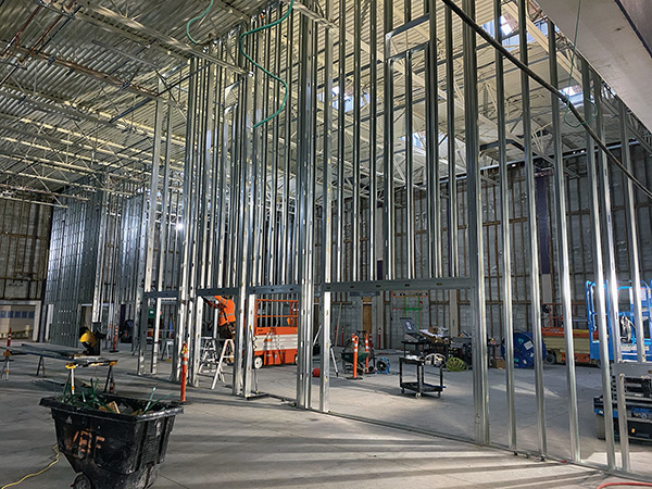 Steel framing for interior walls