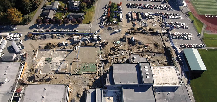 An aerial view of Lake Stevens High School
