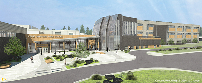 Render of the new Lake Stevens High School