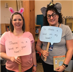 Librarian Rachel & Mrs. Colvin dressed up as Elephant & Piggie for Character Day!