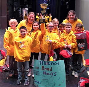 After the finals against teams across the Sno Isle region of WA - Hillcrest Team Read Hawks holds up their trophy!
