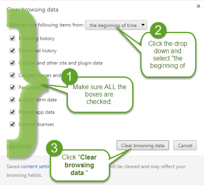 Step two of clearing your cache