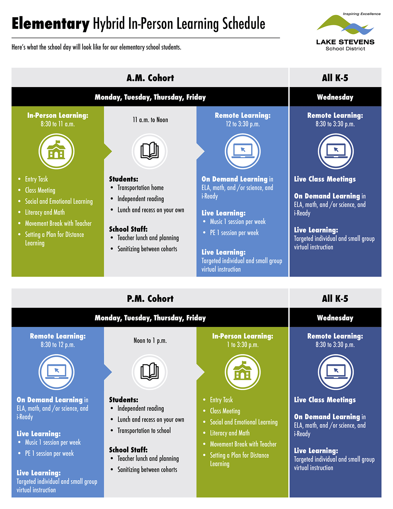 Elementary Hybrid In-Person Learning Schedule